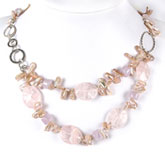 24 Inch Double Strand Freshwater Pearl Necklace by IPEARL with Pink Biwa Pearls and Rose Quartz