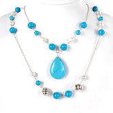 16 Inch Freshwater Pearl Necklace by IPEARL with 8-9mm White Round Pearls and Turquoise; Silver Clasp