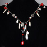 24 Inch Freshwater Pearl Necklace by IPEARL with 6mm White Baroque Pearls and Red Coral; Silver Clasp