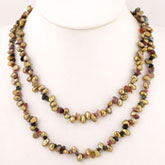 20 Inch Freshwater Pearl Necklace with 5-6mm Golden Baroque Pearls & Tourmaline; Silver Clasp