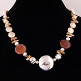 20 Inch Freshwater Pearl Necklace by IPEARL with 9-10mm Multicolor Rice Pearls & Fire Crackle Agate; Silver Clasp