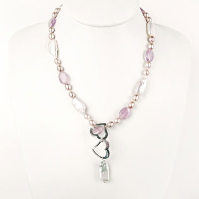 Freshwater Pearl Necklace by IPEARL with 7-8mm Purple Rice Pearls, 20 Inch, with Amethyst, 1-Strand , Silver Clasp