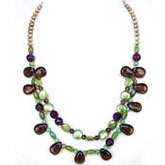 20 Inch Freshwater Pearl Necklace by IPEARL with Round Brown Pearl and Turquoise & Crystal; Silver Clasp
