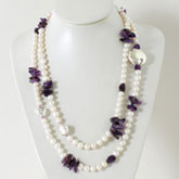 IPEARL 48 Inch Freshwater Pearl Necklace with Round White Pearl and Amethyst