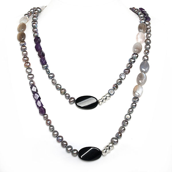 IPEARL 54 Inch Freshwater Necklace with Purple Pearls,  Amethyst and Agate