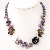 18 Inch Freshwater Pearl Necklace by IPEARL with 6-7mm Peacock Round Pearls, Onyx & Smoky Crystal; Mother-of-Pearl Clasp