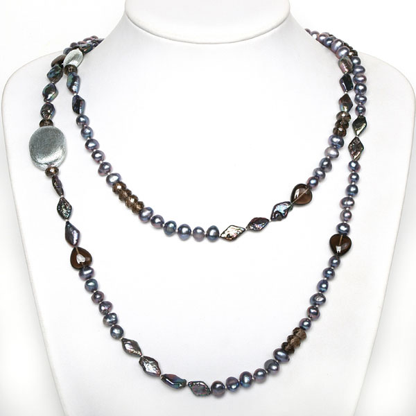 IPEARL 48 Inch Freshwater Pearl Necklace with Blue Round & Keishi Pearls & Smoky Quartz