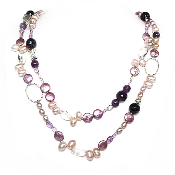 IPEARL 48 Inch Freshwater Pearl Necklace with Coin Pearls,  Amethyst & Crystal