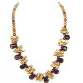 24 Inch Freshwater Pearl Necklace by IPEARL with Yellow Round & Biwa Pearl and Crystal; Silver Clasp
