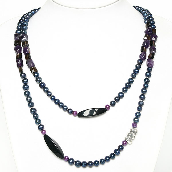 IPEARL 48 Inch Freshwater Pearl Necklace with Round Blue Pearls, Black Agate, Amethyst & Smoky Quartz