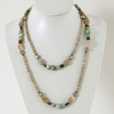 IPEARL 48 Inch Freshwater Necklace with Round Brown Pearl, Agate, Turquoise & Smoky Quartz
