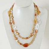 IPEARL 2-Row 48 Inch Freshwater Pearl Necklace with Round Yellow Pearl, Crystal & Agate