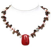 18 Inch Freshwater Pearl Necklace by IPEARL with Teardrop White Pearl, Crystal, Coral & Jade; Silver Clasp