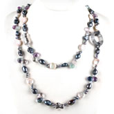 IPEARL 48 Inch Freshwater Pearl Necklace with Coin White Pearl, Cloud Crystal & Fluorite