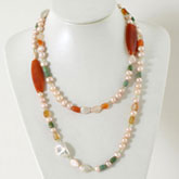 IPEARL 48 Inch Freshwater Pearl Necklace with Round Pink Pearl, Peridot, Turquoise &  Agate