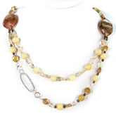 24 Inch Freshwater Pearl Necklace by IPEARL with Yellow Coin Pearl, Cherry Stone, Yellow Jade & Smoky Quartz