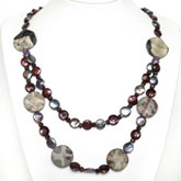24 Inch Freshwater Pearl Necklace by IPEARL with 11mm Red Coin Pearl, Picture Jasper, Garnet & Crystal
