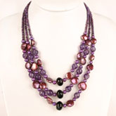 20 Inch Multi-Strand Freshwater Pearl Necklace by IPEARL with 6-7mm Round Purple Pearl and Smoky Quartz; Silver Clasp