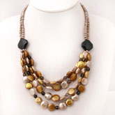 IPEARL Multi-Strand 20 Inch Freshwater Pearl Necklace with Golden Coin Pearl, Smoky Quartz & Agate, Silver Clasp