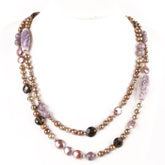 IPEARL 24 Inch Freshwater Pearl Necklace with Round Pearl, Picture Jasper, Smoky Quartz & Dogtooth Amethyst