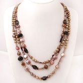 IPEARL 3 Strand 24 Inch Freshwater Pearl Necklace with Round Brown Pearl, Garnet & Smoky Quartz