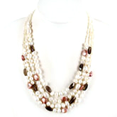 20 Inch Freshwater Pearl Necklace by IPEARL with 9-10mm Rice White Pearl and Crystal; Silver Clasp