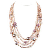 20 Inch Multi-Strand Freshwater Pearl Necklace by IPEARL with Baroque Pink Pearl; Silver Clasp