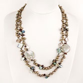 24 Inch Freshwater Pearl  Necklace by IPEARL with Mocha Pearls, Shell & Garnet; Pearl Clasp