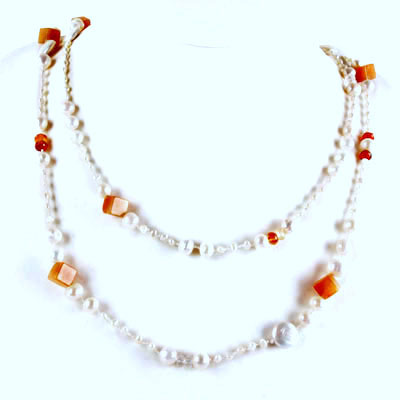 IPEARL 72 Inch Freshwater Pearl Necklace with Round White Pearl, Agate, Aventurine and Citrine