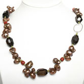 IPEARL 24 Inch Freshwater Pearl Necklace with 7-8mm Brown Keishi Pearls and Smoky Quartz