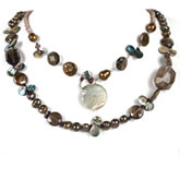 20 Inch 2 Strand Freshwater Pearl Necklace by IPEARL with Brown Pearls, Shell, Crystal & Garnet; Pearl Clasp