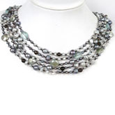 Freshwater Pearl Necklace by IPEARL with 3-4mm Silver Grey Baroque Pearls with Crystal; Pearl Clasp