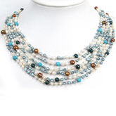 IPEARL Freshwater Pearl Necklace with 4-5mm Multicolor Round Pearls, 20 Inch, with Turquoise, Multiple Strands , Pearl Clasp