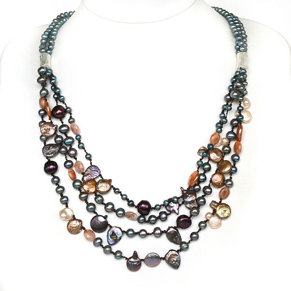 IPEARL Classic 4-Row 20 Inch Necklace with Coin Multicolor Pearl and Agate, Pearl Clasp