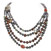 IPEARL Freshwater Pearl Necklace with 5-6mm Multicolor Round Pearls, 20 Inch, with Agate, 4-Strand , Pearl Clasp