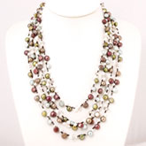 Freshwater Pearl Necklace by IPEARL with 7-8mm Multicolor Baroque Pearls, 20 Inch, Multiple Strands , Pearl Clasp