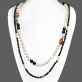 Freshwater Pearl Necklaces (2 piece set) by IPEARL with Round Brown & White Baroque Pearls & Carnelian
