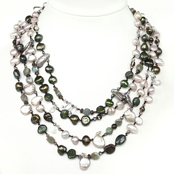 18 Inch Multi-Strand Freshwater Pearl Necklace by IPEARL with 8-9mm Multicolor Baroque Pearls & Crystal;  Pearl Clasp