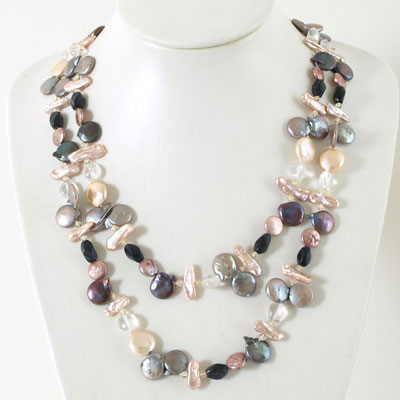 IPEARL 64 Inch Freshwater Pearl Necklace with Coin Multicolor Pearls, Amethyst and White Crystal