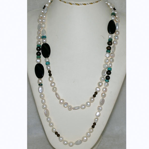IPEARL 54 Inch Freshwater Pearl Necklace with Baroque White Pearl, Smoky Quartz, Turquoise & Black Agate