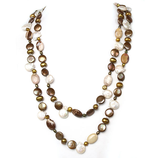 IPEARL 64 Inch Freshwater Pearl Necklace with Coin Brown Pearl, White Crystal & Mexican Agate