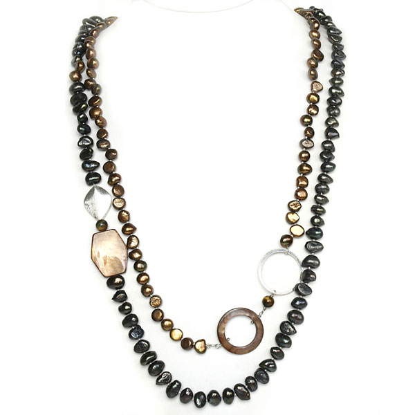 IPEARL 2 Strand 30 Inch Freshwater Pearl Necklace with Baroque Black Pearl, Tiger Eye & Shell