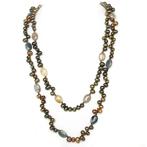 30 Inch 2-Strand Freshwater Pearl Necklace by IPEARL with Teardrop Green Pearl, Hawk's Eye & Carnelian