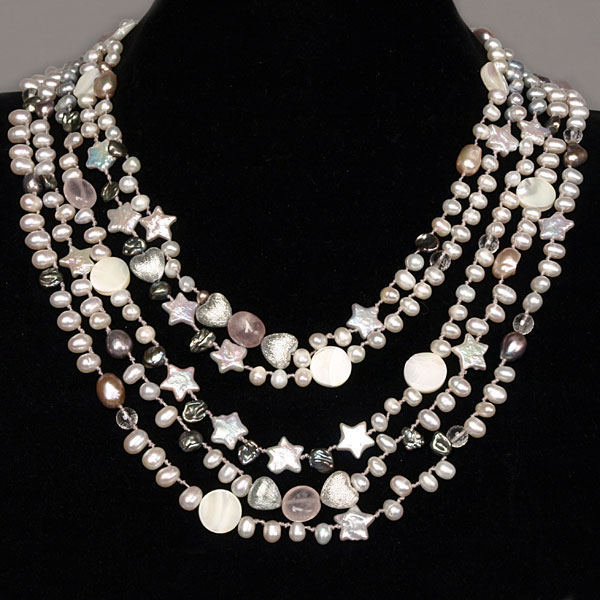 IPEARL 5 Strand 18 Inch Necklace with Teardrop White Pearl, Shell, Rose Quartz & Crystal, Pearl Clasp