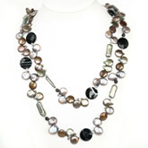 48 Inch Freshwater Pearl Necklace by IPEARL with 10-11mm Multicolor Coin Pearls, Agate & Crystal