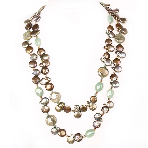 IPEARL  54 Inch Freshwater Pearl Necklace with Coin Brown Pearl and Aventurine,  Amazonite &  Agate