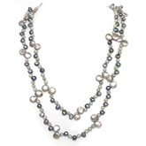 IPEARL Freshwater Pearl Necklace with 6-7mm Silver Teardrop Pearls, 64 Inch, 2-Strand