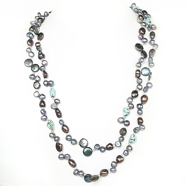 IPEARL 64 Inch Freshwater Pearl Necklace with Baroque Brown Pearl, White Crystal & Turquoise