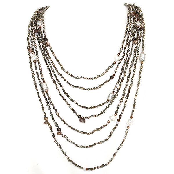 IPEARL 7-Row 30 Inch Timeless Necklace with Round Multicolor Pearl and Smoky Quartz, Pearl Clasp