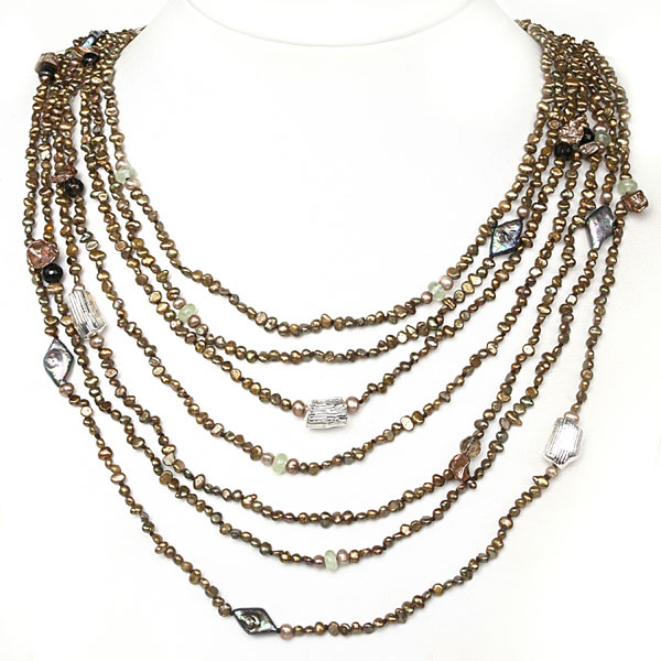 24 Inch Multi-Strand Brown Freshwater Pearl Necklace by IPEARL with Serpentine; Pearl Clasp